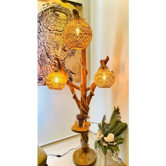 COSART Ağaç Lambader Doğal Min. 180 cm 3 Başlıklı Halikarnas Serisi