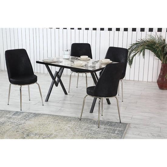 Dzdizayn Umay Beyaz Mermer Desen Masa & Siyah Kumaş Sandalyeli Set 80*120