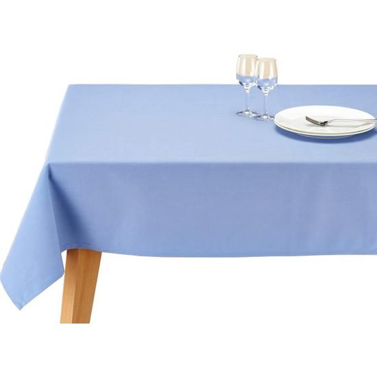 Derin Home Düz Mavi Renkli Dertsiz Masa Örtüsü 140 x 300 cm + 6 Adet 35X35 Peçete