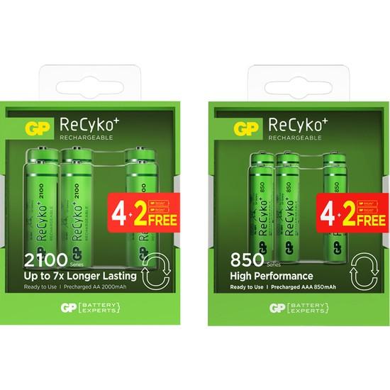 Gp Recyko 2100 Serisi 4+2 AA + 850 Serisi 4+2 AAA Şarjlı Pil 12'li