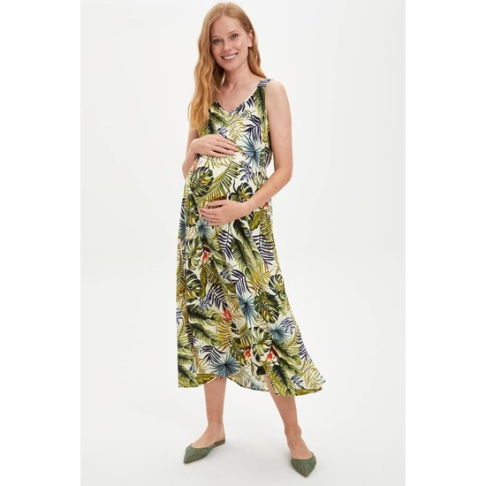 DeFacto Regular Fit Çiçek Desenli Hamile Elbise S1467AZ20SP
