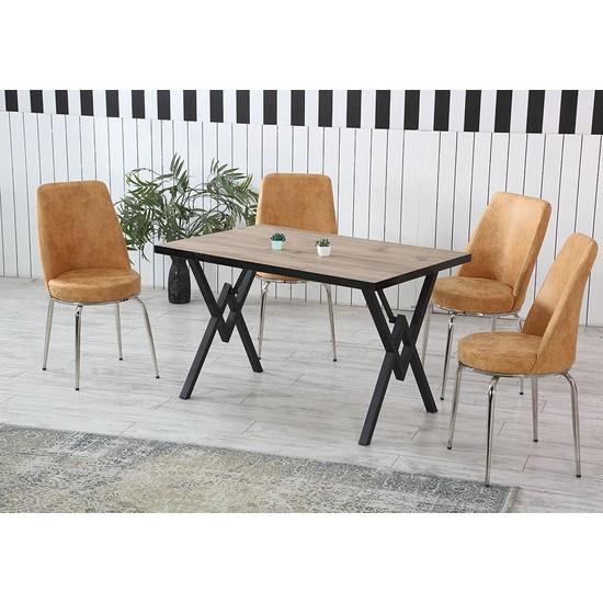 Dzdizayn Umay Keçe Renk Masa Turuncu Kumaş Sandalyeli Set