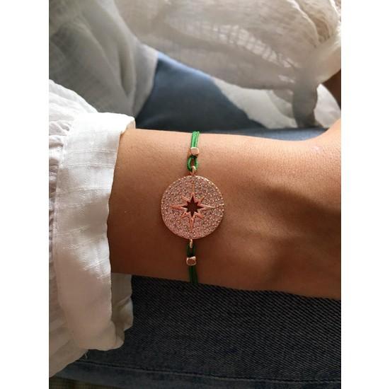 Serpil Jewellery Rose Renk Zirkon Taşlı Yeşil İpli Kutup Yıldızı Bileklik