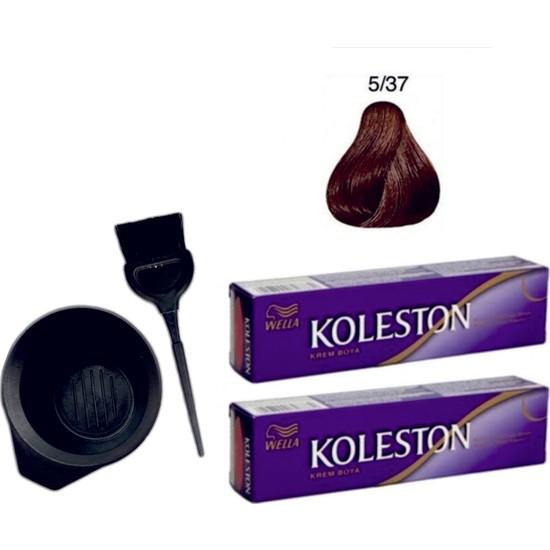 Koleston Tüp Saç Boyası 5/37 Kışkırtıcı Kahve 2'li + Boyama Seti