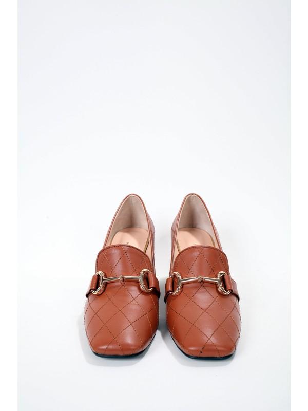 Elisse Shoes Kadın Toka Detaylı Taba Ayakkabı