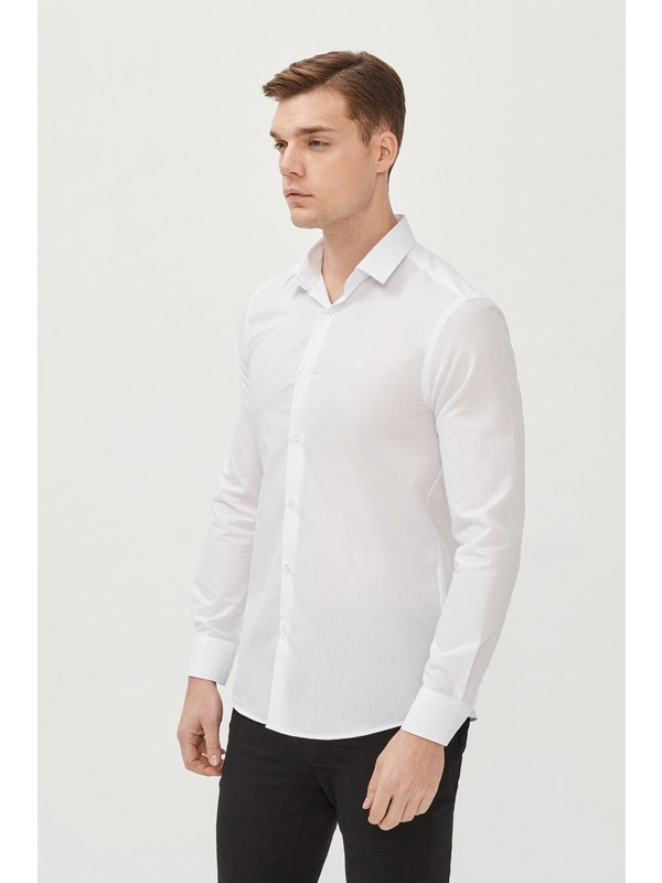 Avva Erkek Beyaz Oxford Klasik Yaka Slim Fit Gömlek E002002