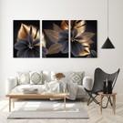 iyi1fikir Altın Yapraklı Çiçekler Dekoratif KanvasTablo Seti