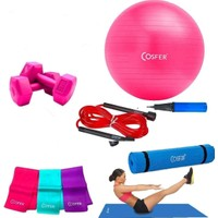 Cosfer 6 Parça Pilates ve Yoga Seti Fuşya