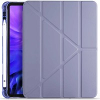 """Fuchsia Samsung Galaxy Tab S6 Lite P610 P615 P617 10.4"""" Kalemlikli Arka Silikon Uyku Modlu Üçgen Katlanabilir Yatay ve Dikey Standlı Antişok Özellikli Smart Kılıf Mor"""