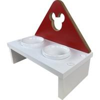 Odun Concept Kedi ve Küçük Irk Köpek Mama ve Su Kabı - Beyaz Seramik Kaseli Beyaz - Red Edition Minnie Mouse