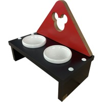 Odun Concept Kedi ve Küçük Irk Köpek Mama ve Su Kabı - Beyaz Seramik Kaseli Siyah - Red Edition Minnie Mouse