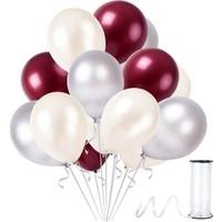 Kullanatparty Rafya Hediyeli 100 Adet Metalik Parti Balonu Bordo - Gümüş - Beyaz