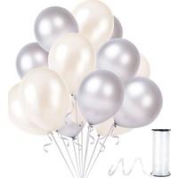 Rafya Hediyeli 100 Adet Metalik Parti Balonu Beyaz -Gümüş