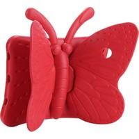 CaseArt Apple iPad Mini 5 Renkli Kelebek Standlı Silikon Tablet Kılıfı Kırmızı
