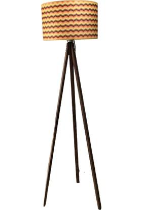 Özlem Aydınlatma Zigzag Silindir Şapkalı Ceviz Üç Ayaklı Tripod Lambader