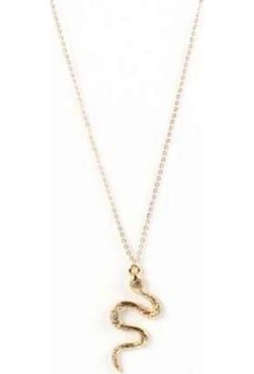AlpCollection Sarı Yılan Bayan Kolye 50 cm Zincir Hediyelik Kadın Metal Takı