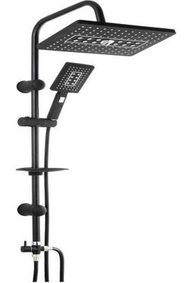 Sardıcı Yağmurlama Tepe Siyah Duş Robotu Seti Şık Tasarım Fonksiyonlu Duş Başlığı