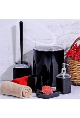 Kosova Akrilik 5 'li Kare Siyah Banyo Seti