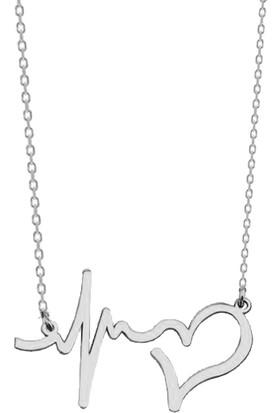 Bigakan Kalp Atışı Gümüş Kolye 925 Ayar Gümüş Kadın Sevgililer Günü Kolyesi