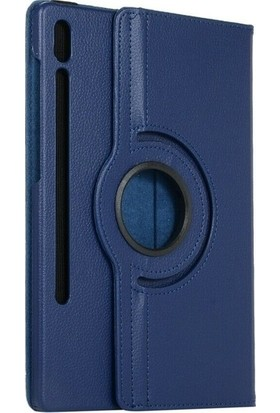 Tekno Grup Samsung Galaxy Tab S7 Plus (T970) Kılıf Dönebilen Standlı Kapaklı Kılıf + Nano Ekran Koruyucu Lacivert