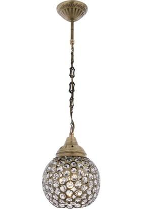 Avonnı AV-4141-1EK Eskitme Kaplama Sarkıt E27 Metal Kristal 15 cm