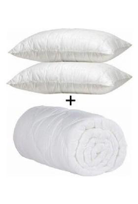 Soley Çift Kişilik Microfiber Yorgan Seti + 2 Adet Yastık Beyaz