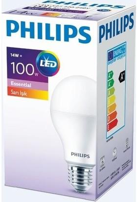 Phılıps 14W (100W) E27 LED Ampul Sarı Işık 2700K(5 Adet)