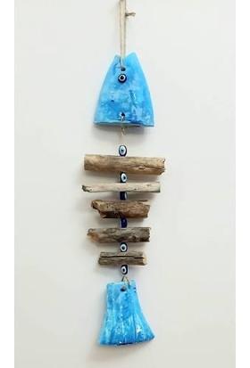 Uzman Dekoratif Mavi Balık Iskelet Figürlü Duvar Süsü