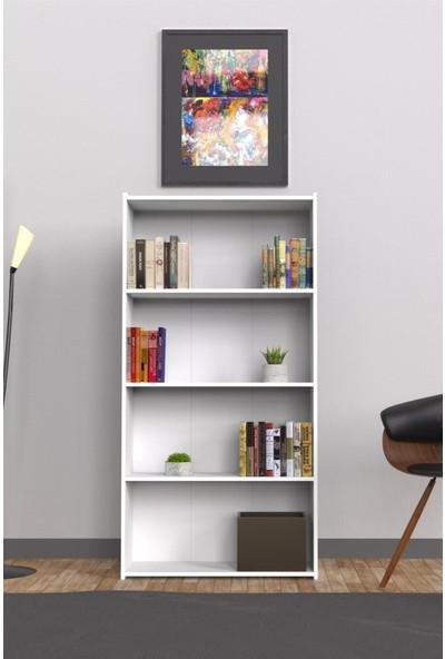 Mimilos K4 Kitaplık 4 Dört Raflı Dekoratif Arkalıklı Dolap