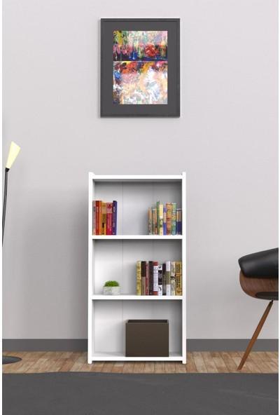 Mimilos K3 Kitaplık 3 Üç Raflı Dekoratif Arkalıklı Dolap