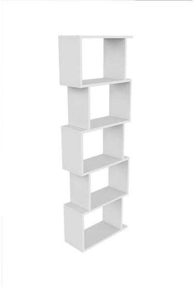 Mimilos K10 Dekoratif Zigzag 5 Beş Raflı Zikzak Salon Dolabı