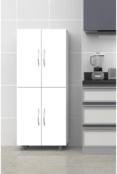 Mimilos D11 Kapaklı Mutfak Kiler Dolabı 4 Raflı 4 Kapılı Dolap