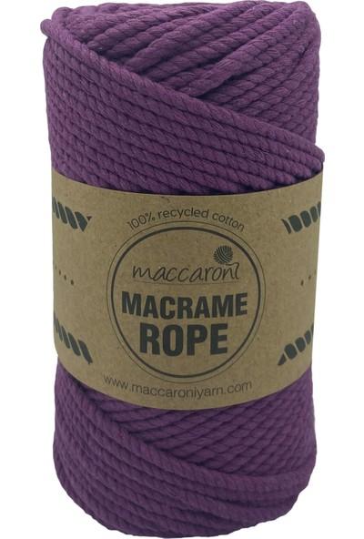 Maccaroni 4 mm Üç Büklüm Pamuk Makrome Tarama İpi Halat 250 gr