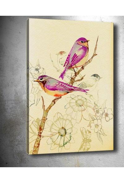 Syronix Dalda Iki Pembe Kuş Dekoratif Kanvas Tablo