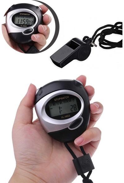 Pembe Karınca Spor Zamanlayıcı LCD Dijital Kronometre Sayaç- Düdük Seti