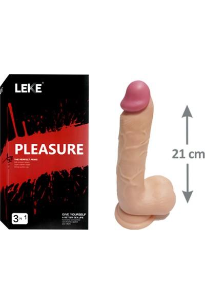 Pleasure 21CM Testisli Gerçekçi Kalın Dildo