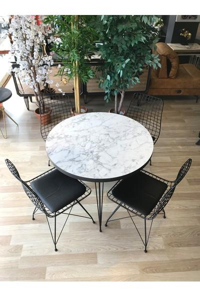 Avm Park Mutfak Masası Yuvarlak + 4 Sandalye Beyaz Mermer Çap 90