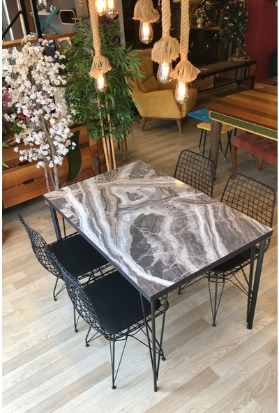 Mutfak Masası + 4 Sandalye Taş Mermer 110-70
