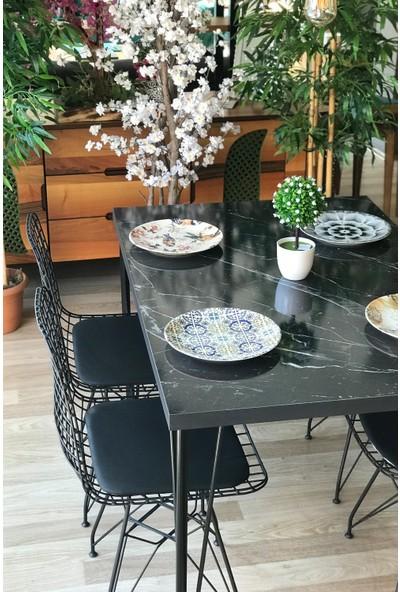 Balkon Masası + 4 Sandalye Siyah Mermer 120-80
