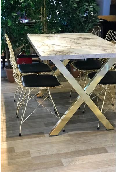 Avm Park x Ayak Gold Beyaz Mermer + 4 Gold Tel Sandalye