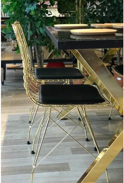 Avm Park x Ayak Gold Siyah Mermer + 4 Gold Tel Sandalye