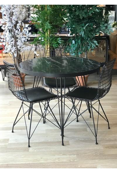 Balkon Masası Yuvarlak + 3 Sandalye Siyah Mermer Çap 90