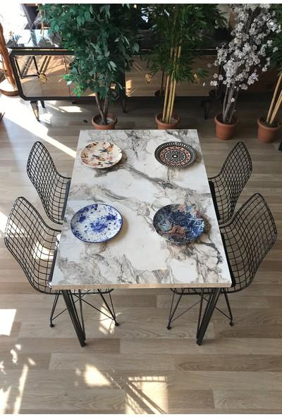 Avm Park Mutfak Masası + 4 Sandalye Beyaz Mermer 120-80