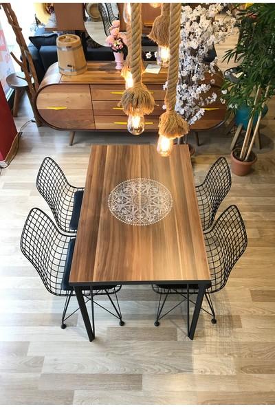 Avm Park Mutfak Masası + 4 Sandalye Ceviz Logo 120-80