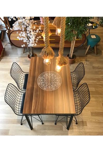 Balkon Masası + 4 Sandalye Ceviz Logo 120-80