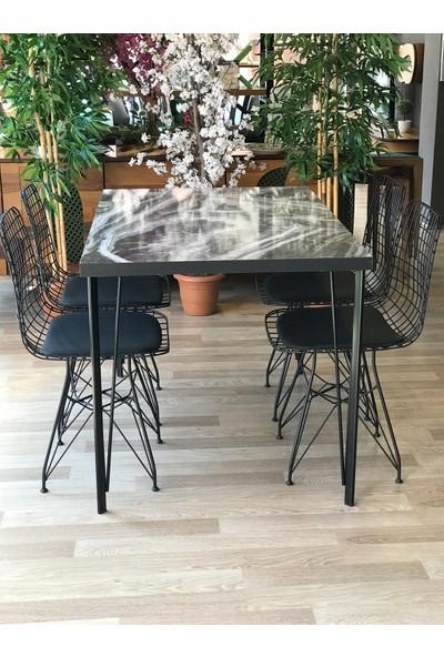 Balkon Masası + 4 Sandalye Taş Mermer 120-80