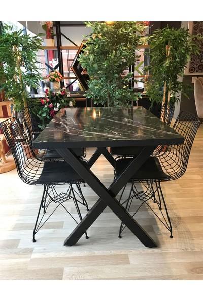 Mutfak Masası + 4 Sandalye x Ayk Siyah Mermer 110-70