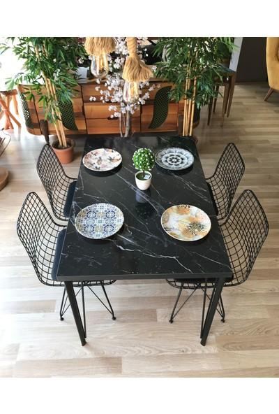 Avm Park Mutfak Masası + 4 Sandalye Siyah Mermer 120-80