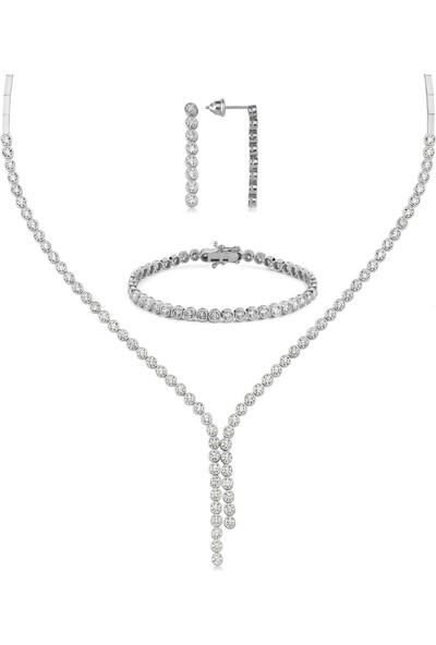 Valori Jewels Yuvarlak Montür, 13.9 Karat Swarovski Zirkon Taşlı, Çift Bitiş Gümüş Su Yolu Set