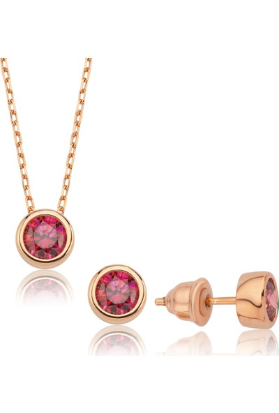 Valori Jewels 1.5 Karat Swarovski Zirkon Kırmızı Yuvarlak Taşlı, Rose Gümüş Set